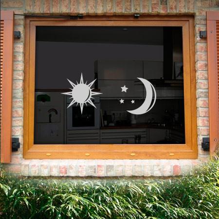 Glasdekor Sonne Mond modern