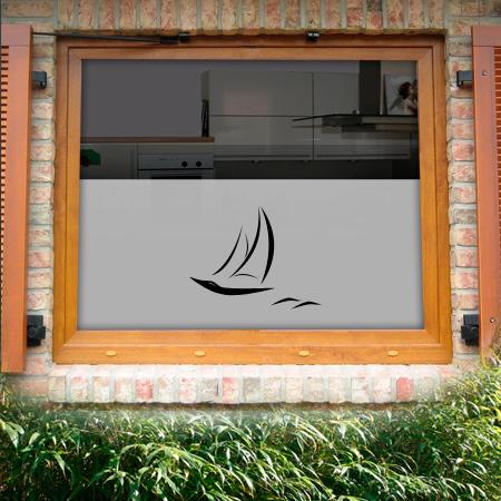 Fensterfolie mit Segelboot