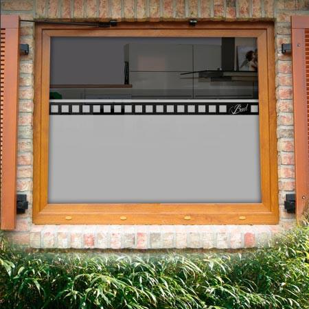 Fensterfolie Bad mit Text