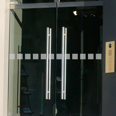 Glastür Aufkleber Quadrate 7 x 3 cm