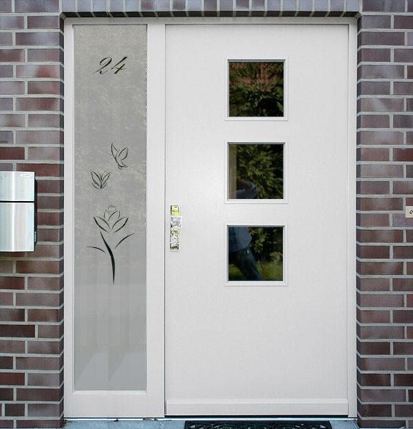 Sichtschutzfolie für Haustür Seitenteile art Rose