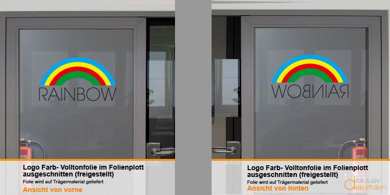 Farbiges Logo auf Sandstrahlfolie bedruckt