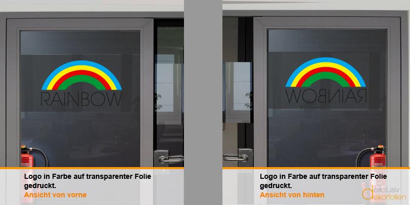 Logodruck auf transparenter Glasdekorfolie